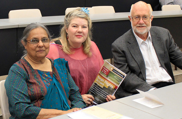 L_R: Ms Ela Gandhi; Dr Lynda Blanchard from the Centre; Professor Jim Ife, inaugural Chair of the Centre for Human Rights Education