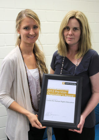 Lisa Hartley and Mary Anne Kenny with the Pro-Vice Chancellor's Award 2012